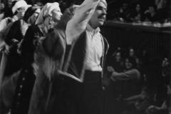 Carlos Delgado leading a Debki line in a performance at UCLA's International Student Center. 1980s.