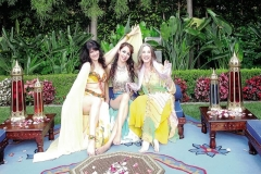 Juliette, Melody and Gigi resting after a Shikhat performance at a Moroccan party in Malibu, CA circa 2010