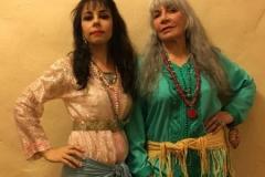 Melody White and Aisha Ali backstage at the San Gabriel Playhouse as part of the Moroccan group for the production Jornada. 2017