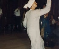 Daoud Herman performing a Saidi Asaya Dance at the Middle East Camp in Mendocino. circa2002