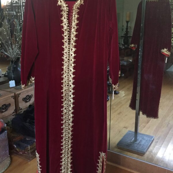 IMG 0868 600x600 - Moroccan Caftan: Vintage Red Velvet with gold braid trim