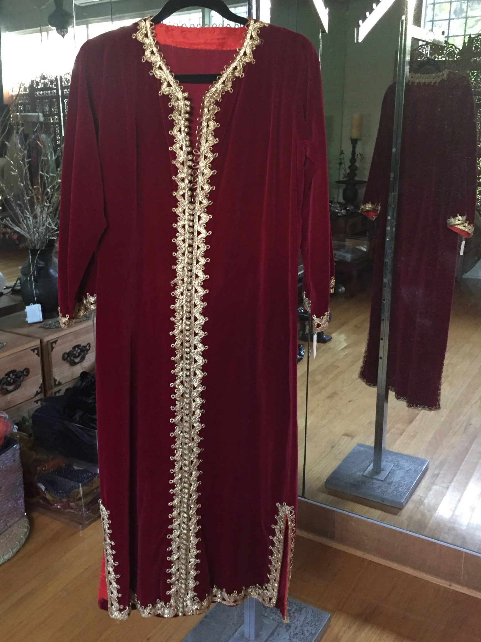 IMG 0868 - Moroccan Caftan: Vintage Red Velvet with gold braid trim