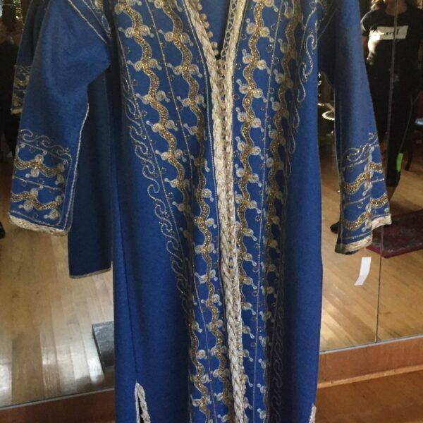 Wool Felt Caftan 600x600 - Moroccan Caftan: Blue Wool Felt