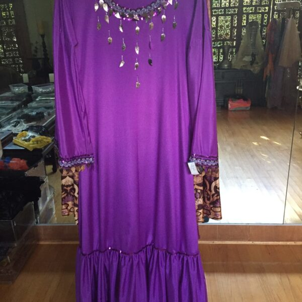 IMG 0848 e1559364983397 600x600 - Purple Egyptian Balady Dress trimmed with silver beads and sequin bangles