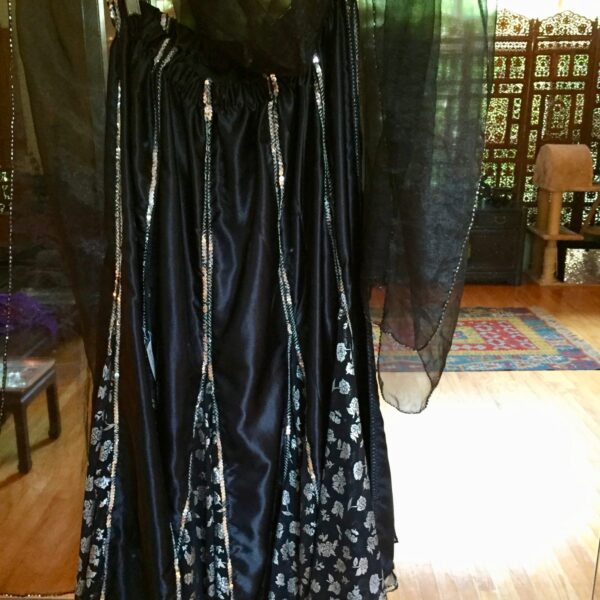 BlkSkirtVeil 600x600 - Dance Skirt and Veil: Black and Silver Belly Dance Skirt with black beaded veil