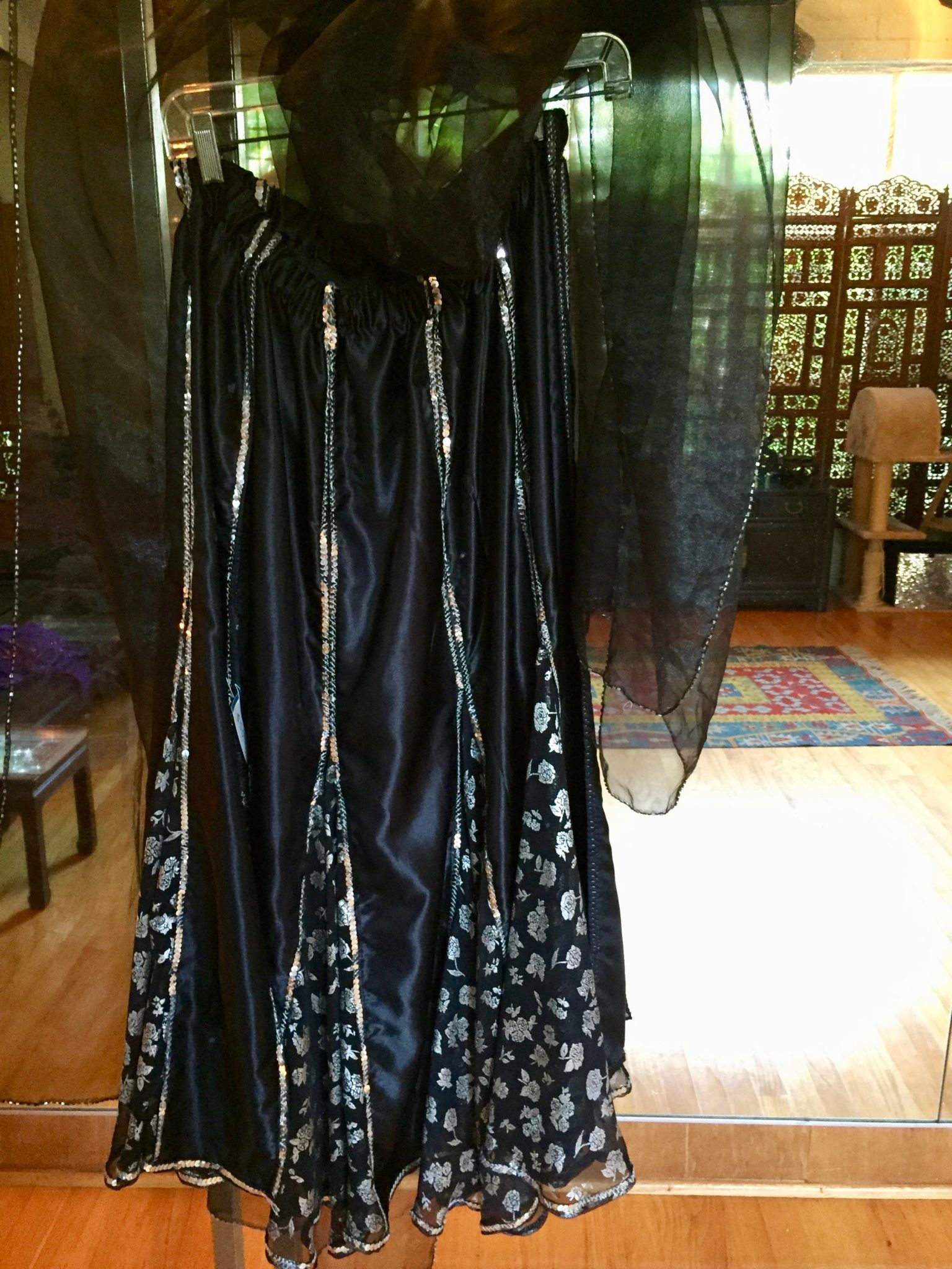 BlkSkirtVeil - SOLD! Black and Silver Belly Dance Skirt with black beaded veil