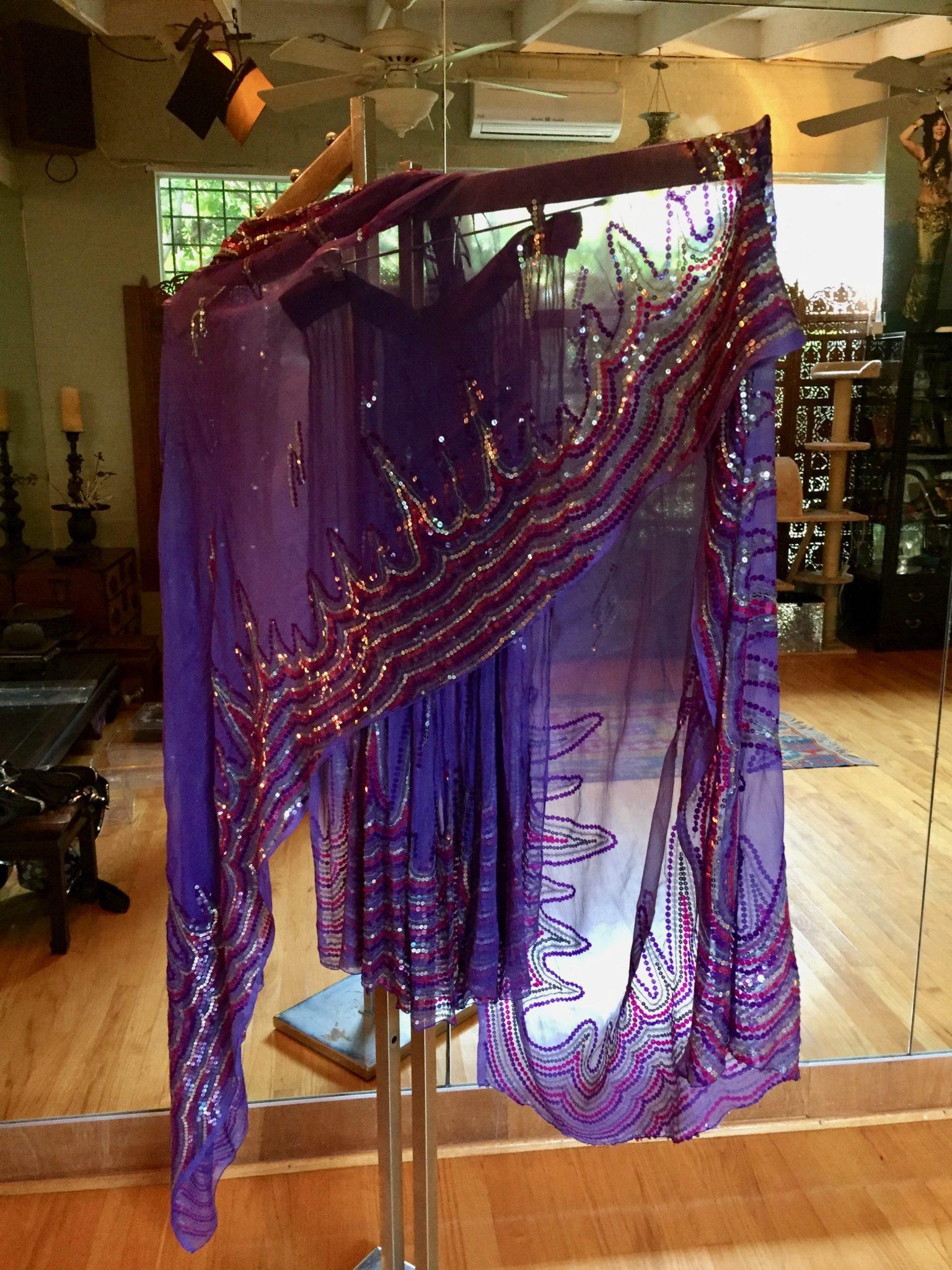 PurpleSlirtSari 2 - Dance Skirt and Veil: Sequined Lavender dance skirt with Veil Wrap
