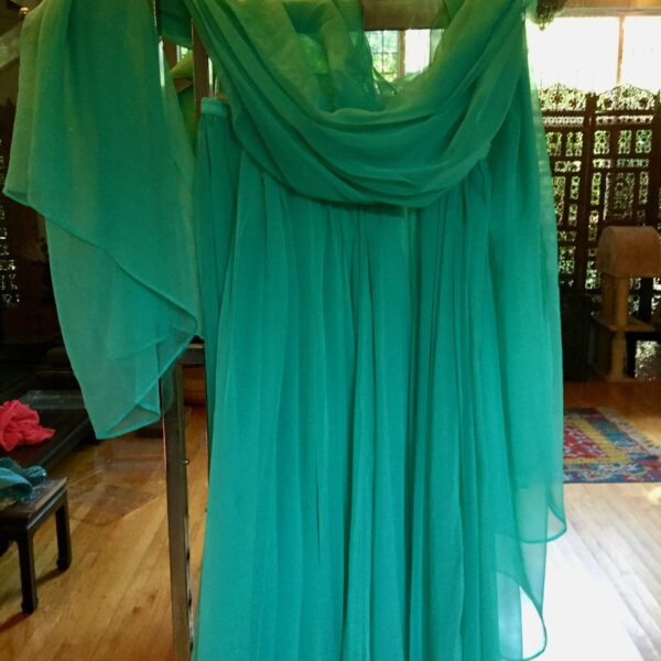 Turq.SkirtVeil 600x600 - Dance Skirt and Veil: Turquoise