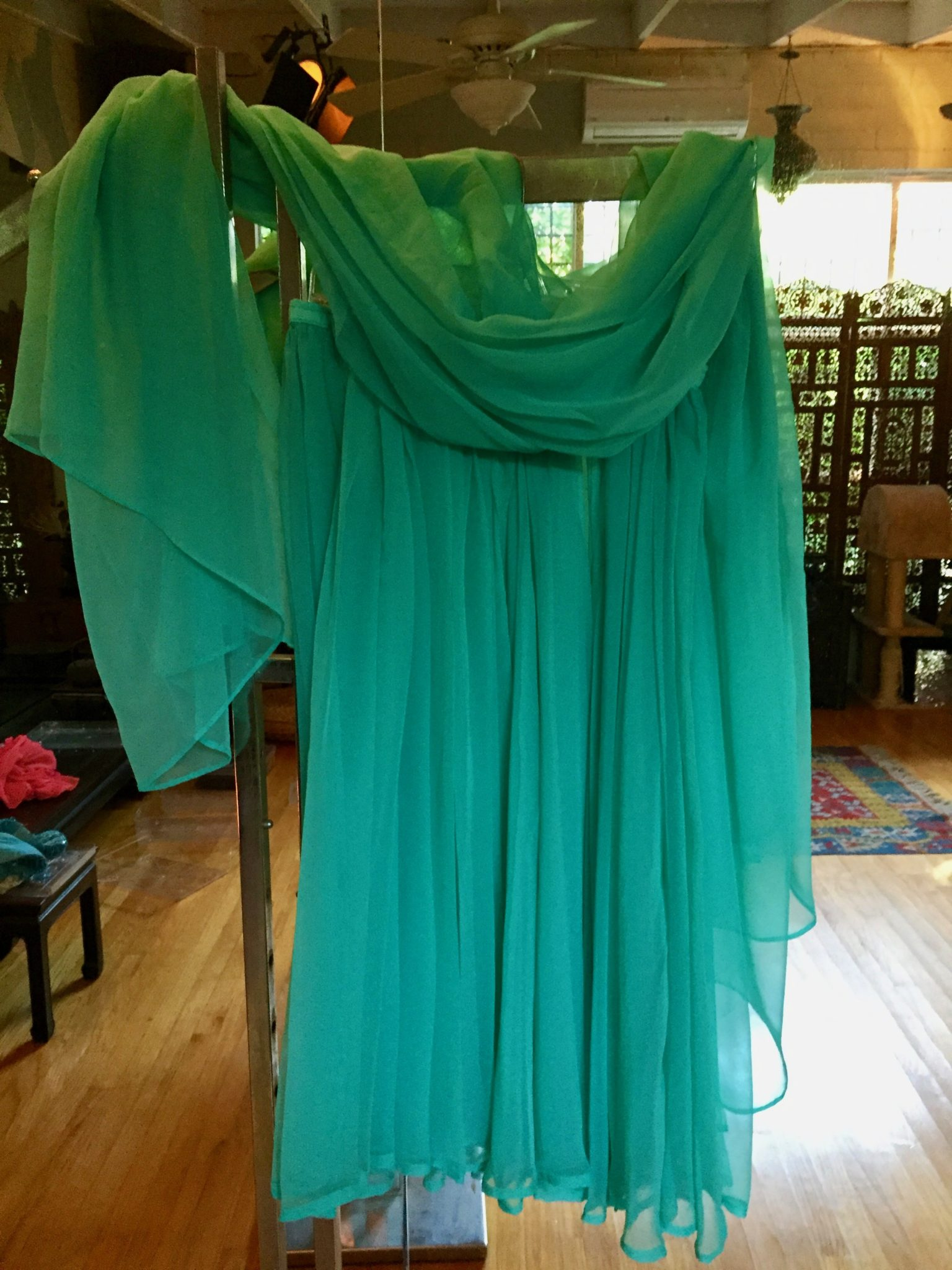 Turq.SkirtVeil - Dance Skirt and Veil: Turquoise