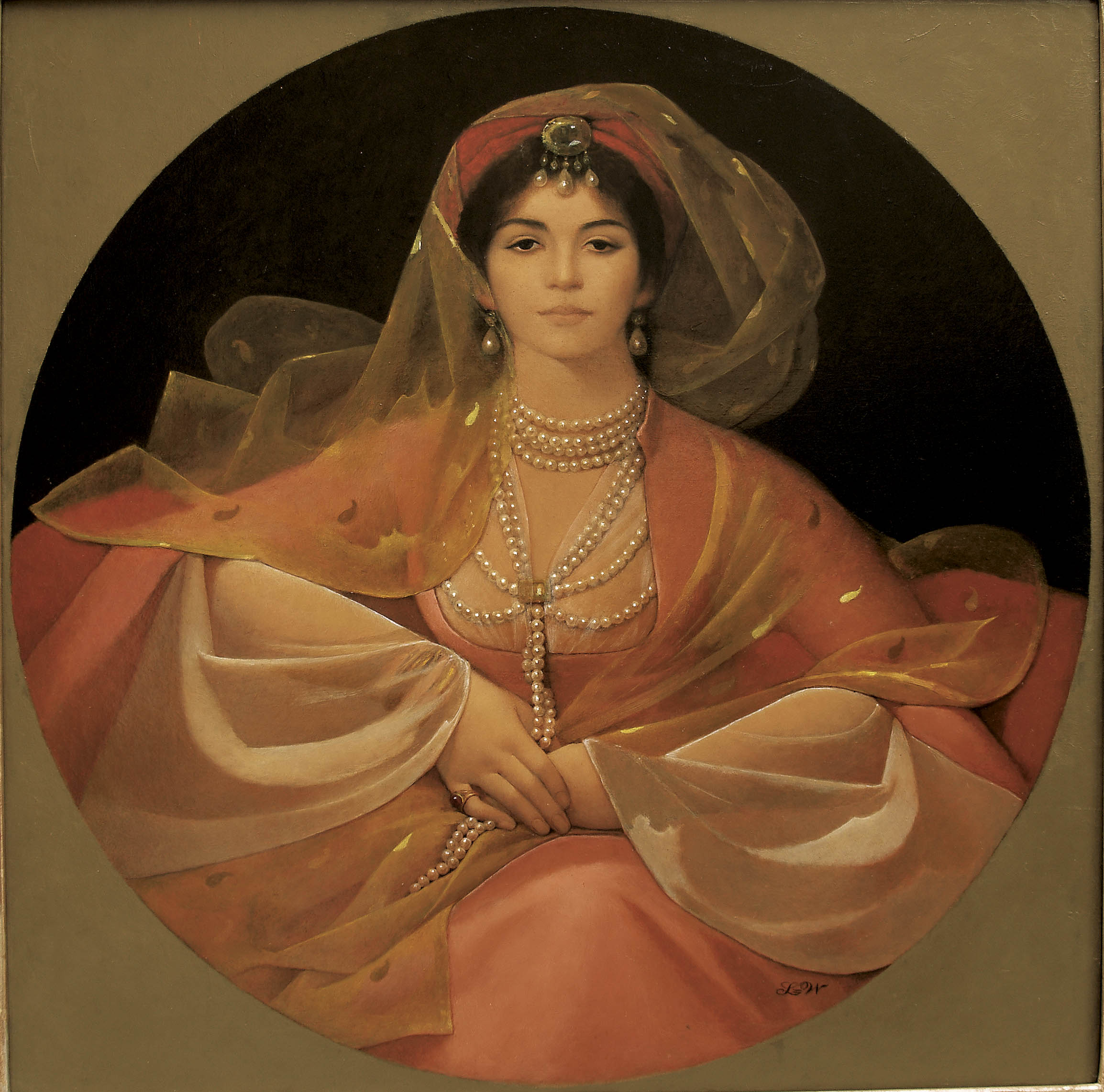 Portrait of a Ghazeeyah copy - LW Portrait Print of Aisha Ali as a 19th Century Ghazeeyah