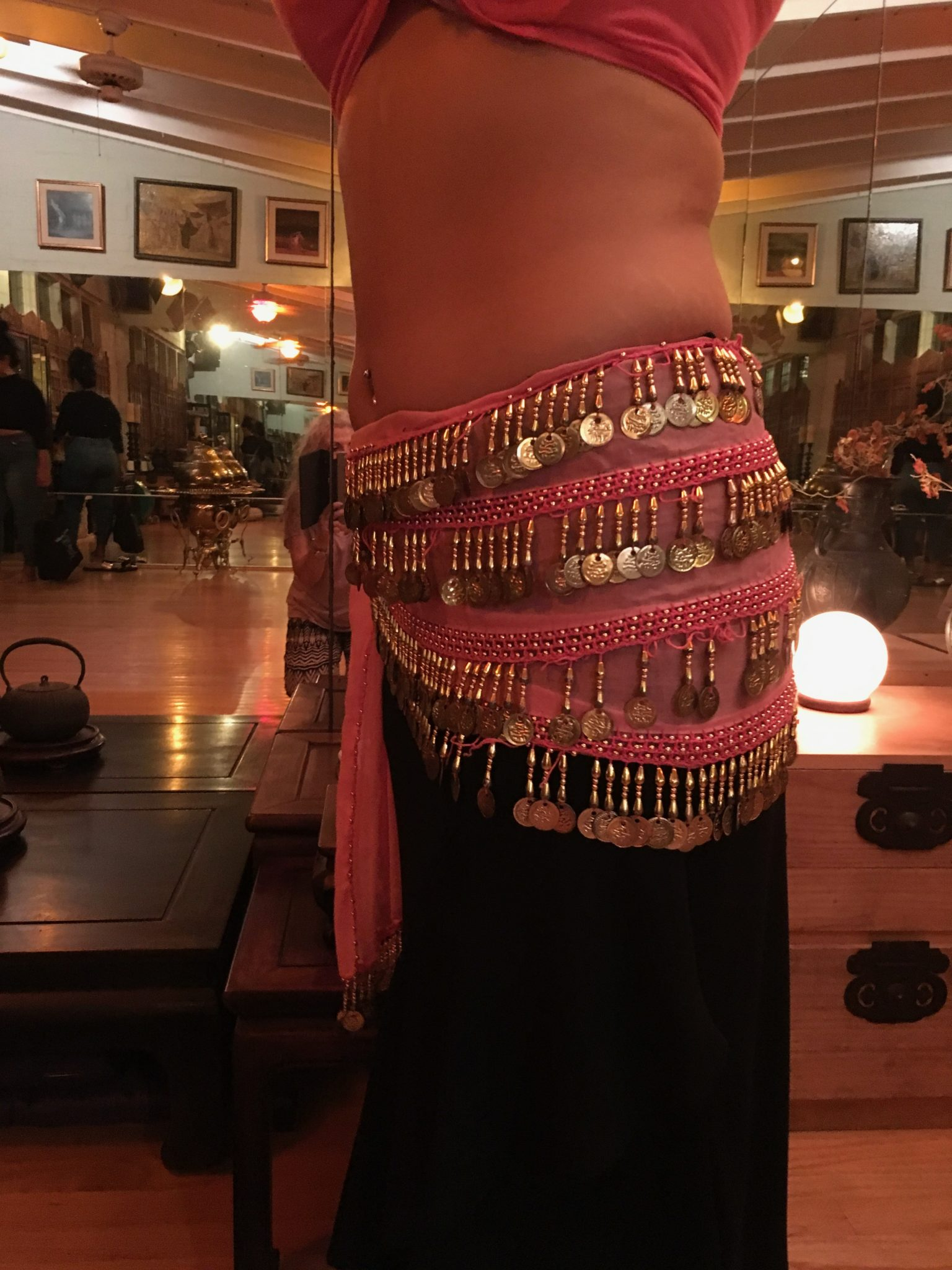 IMG 0189 - Pink Hip Belt with Gold Coins and Beads/SOLD!