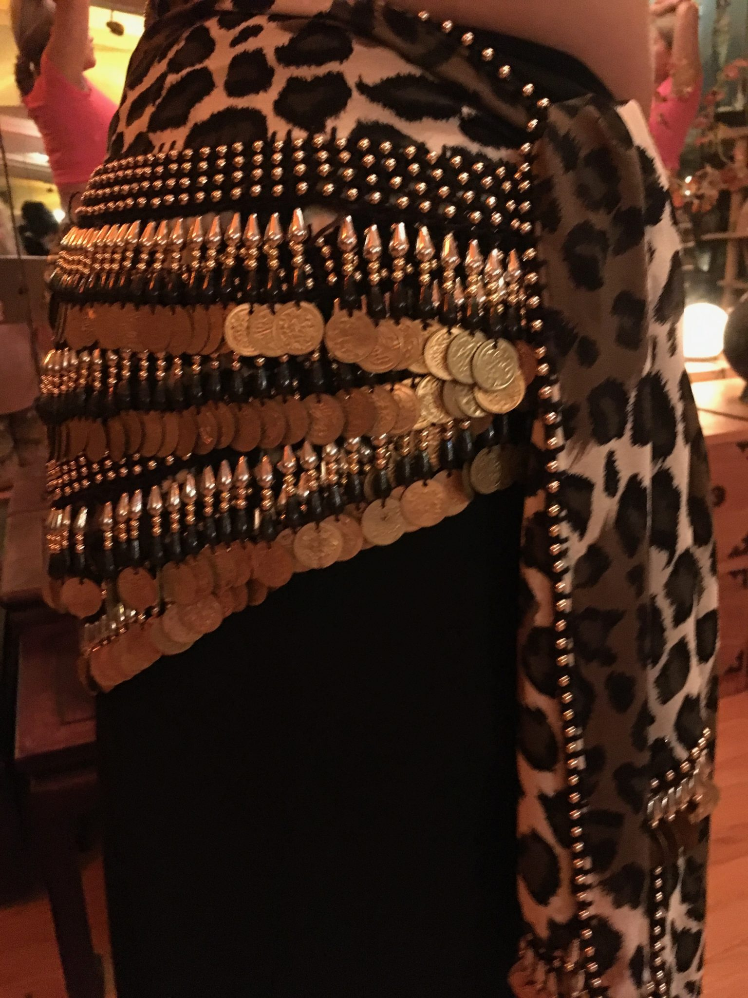IMG 0195 - Gold Coins and Beads on a Leopard Print Hip Belt